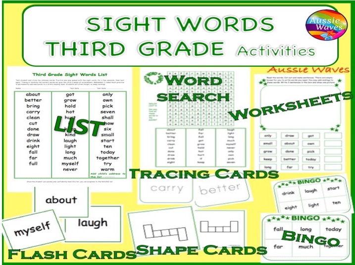 Popular Sight Words GRADE 3 Word Games, Sentences, Activities, Flash Cards, Bingo