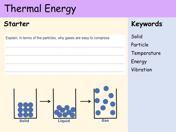 KS3 Heat and Energy - Lesson 2 - Thermal Energy