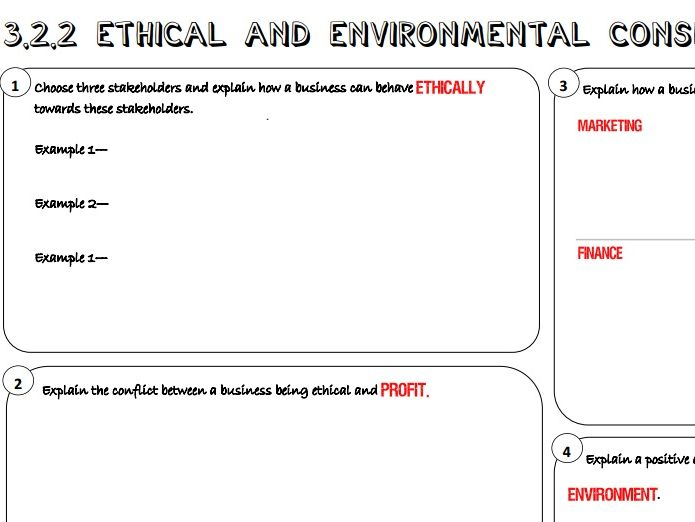 AQA GCSE Business (9-1) 3.2.2 Ethical and Environmental Considerations Learning Mat / Revision