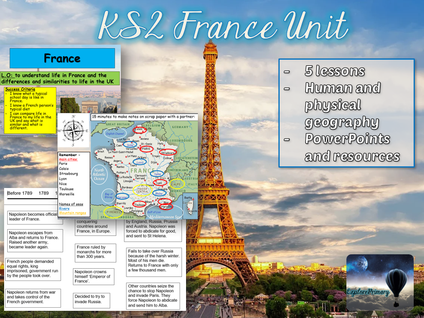 KS2 France Geography Unit - 5 lessons fully resourced