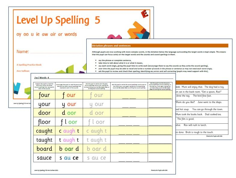 Level Up Spelling 5 - Practice Booklet - Sounds oy oo u ie or air ar - Phonics for SEN