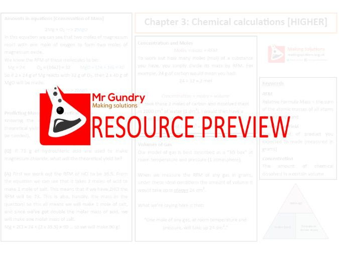 AQA Chapter 3: Chemical Calculations [HIGHER] Revision Sheet