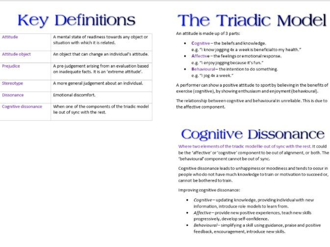 Attitude booklet AS PE Psychology for OCR