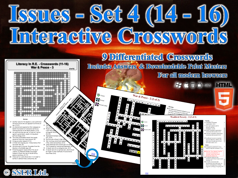 Literacy In Moral & Ethical Issues (Set 4) – Interactive Crosswords (HTML5)