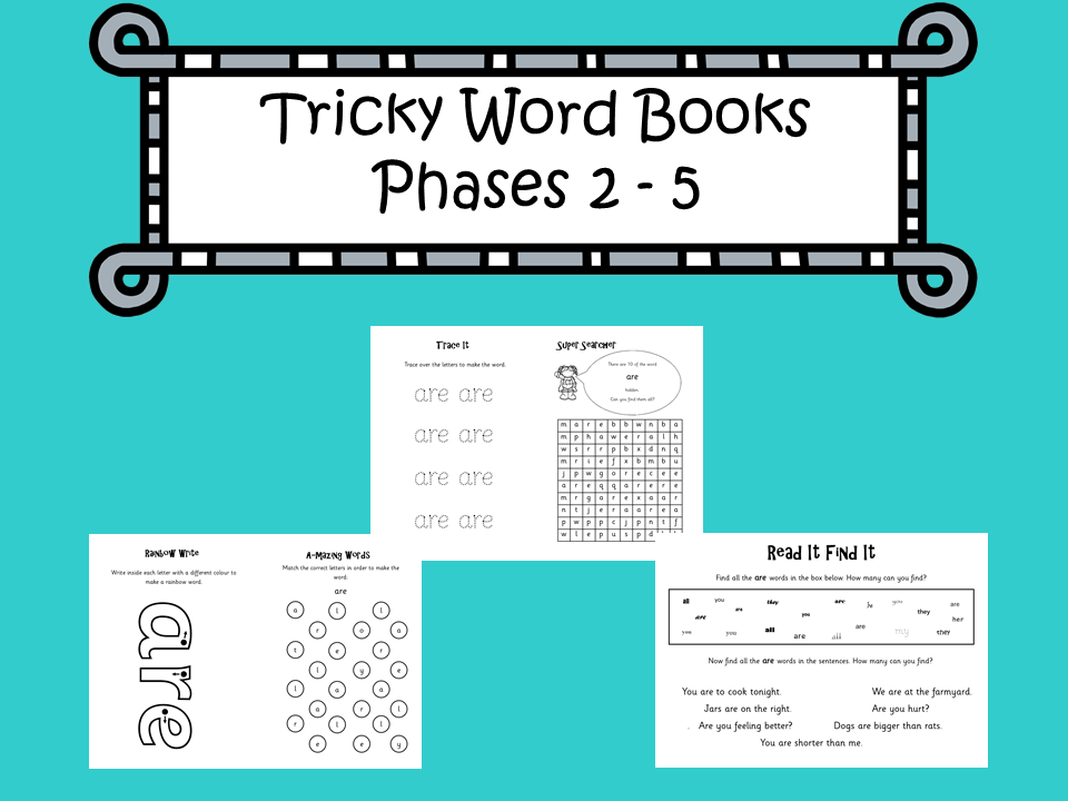 Phonics Tricky Word Books for Phases 2-5