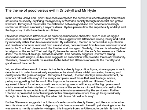 AQA GCSE English Literature Grade 9 example: The theme of good versus evil in Dr Jekyll And My Hyde