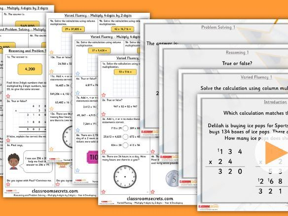 Year 6 Multiply 4-digits by 2-digits Autumn Block 2 Step 2 Lesson Pack