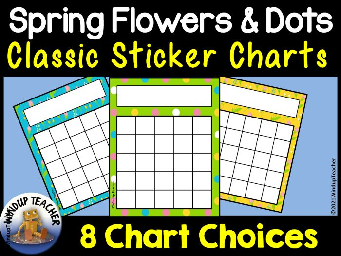 Spring Flowers and Dots Sticker Charts