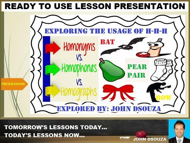 HOMOPHONES-HOMONYMS-HOMOGRAPHS: LESSON PRESENTATION