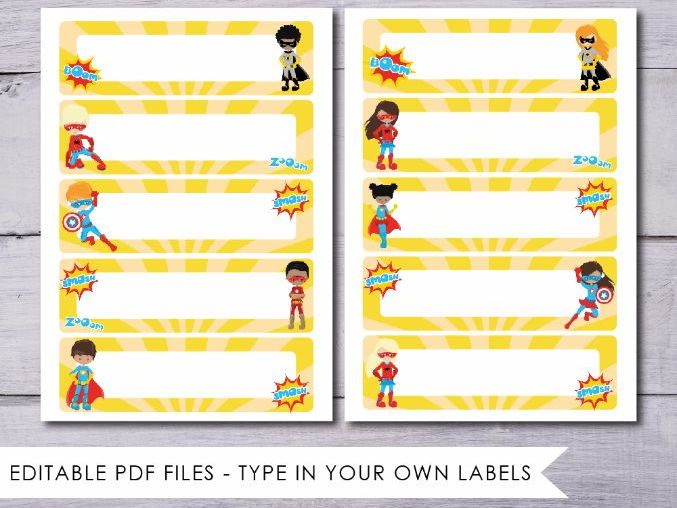 Superhero Tray Labels - editable