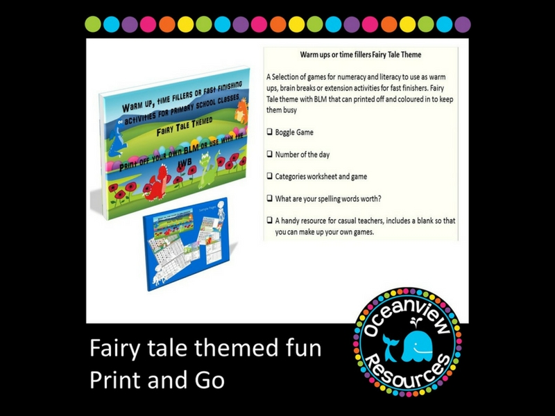Fairy Tale Themed Brain Breaks, Fast Finishers or Extension Activities
