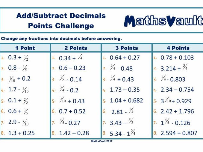 Add or Subtract Decimals Points Challenge worksheet