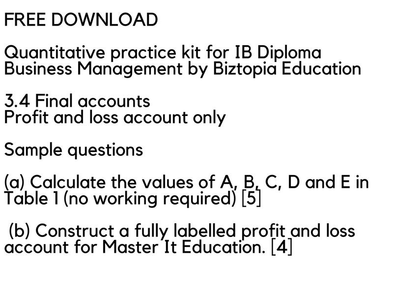 IB Business Management - 3.4 SL Final Accounts