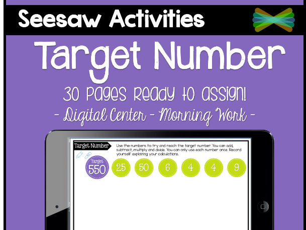 Seesaw Activities - Target Number - Math Center - Morning Work