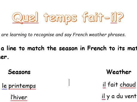 French Seasons and Weather - P3/Y2