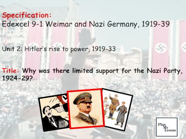 Edexcel 9-1 Weimar and Nazi Germany. L16: Why was there limited support for the Nazi Party, 1923-29?