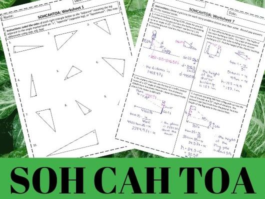 SOH CAH TOA - 7 Worksheet Set - Answers Included
