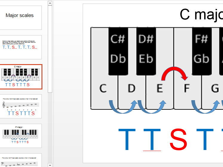 Forming a major scale from the pattern of tones and semitone - PowerPoint
