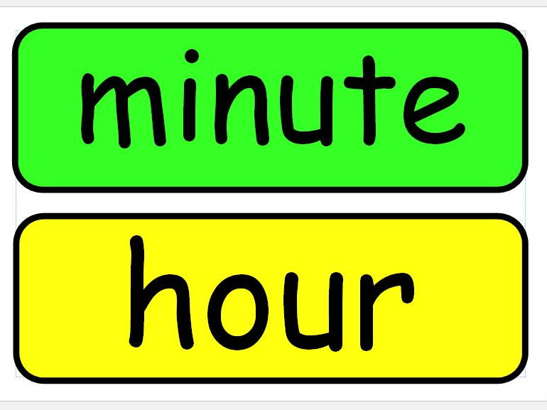 Time vocabulary, KS 1 & 2, working wall or classroom display.