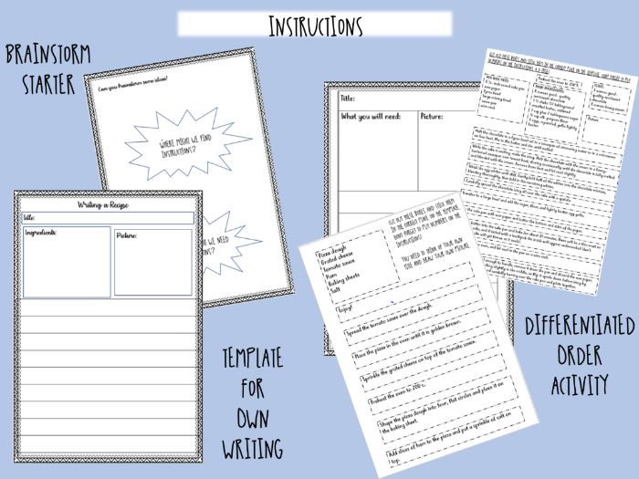 INSTRUCTIONS WRITING SET - starter, activity and writing frame - RECIPES