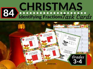 Christmas Math Task Cards-Identifying Fractions in Models