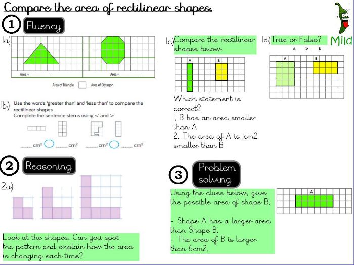 Area- Compare the area of rectilinear shapes