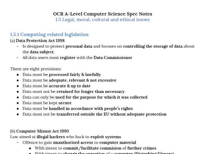 OCR A Level Computer Science Notes