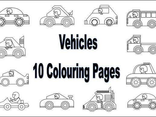 10 Vehicle Colouring Pages