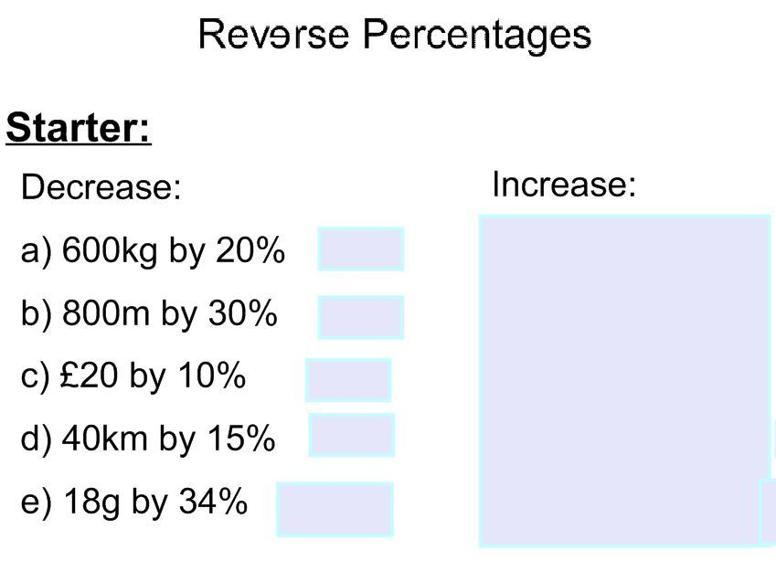 Reverse Percentages