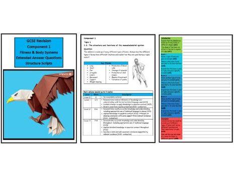 GCSE PE - Edexcel (9-1) - Complete Component 1 - 30 X Structure Strips (Extended Questions)