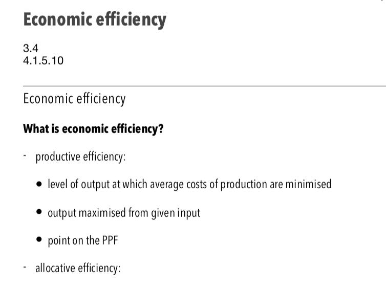 Economic Efficiency - A Level Economics