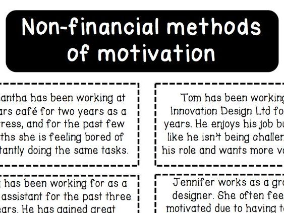 Non-financial Methods of Motivation - Main Activity