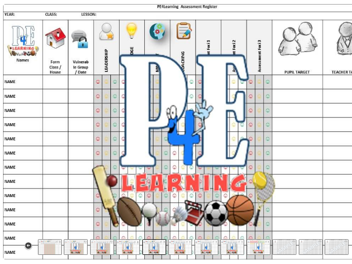 PE Assessment Registers – A4L With and Without Levels | PE4Learning
