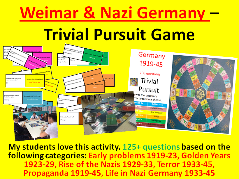Weimar & Nazi Germany – Trivial Pursuit Revision Activity (125+ questions)