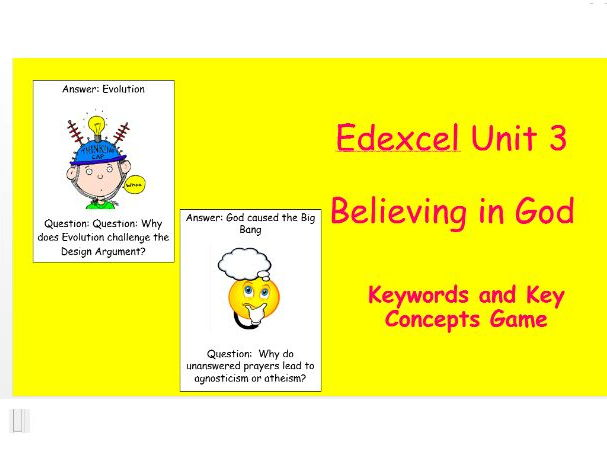 Edexcel Christianity Believing in God Keyword & Key Concepts Game