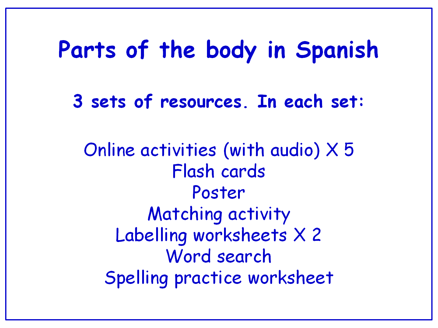 Parts of the Body in Spanish  Worksheets, Games, Activities and Flash Cards (with audio) Bundle (3 sets)