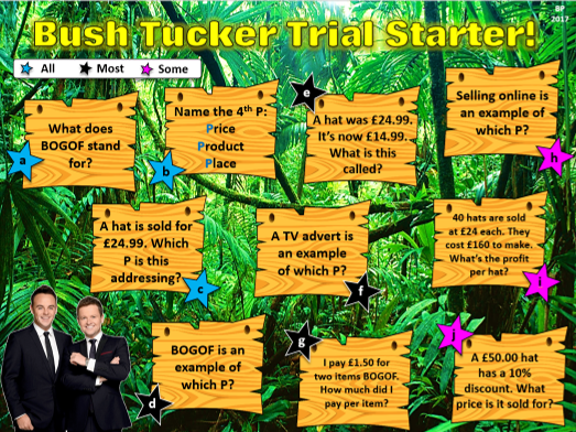 Bush Tucker Trial Starters Template!