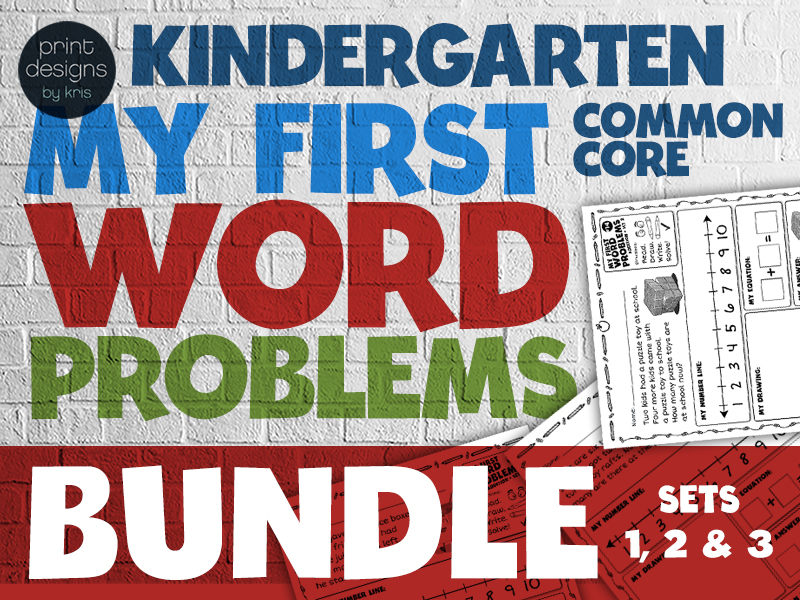 Kindergarten - My First Word Problems Common Core Addition BUNDLE
