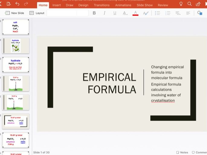 Empirical formula-Water of crystallisation remote learning PowerPoint
