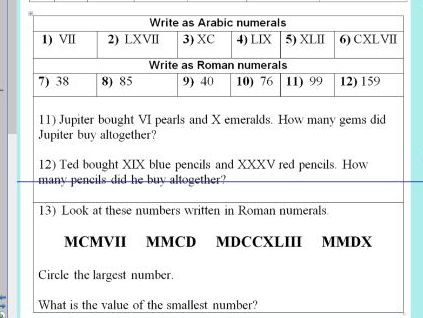 Roman Numerals up to 1000 - Ideal for the first lesson - ks2 year 5 & 6 - WORKSHEET ONLY