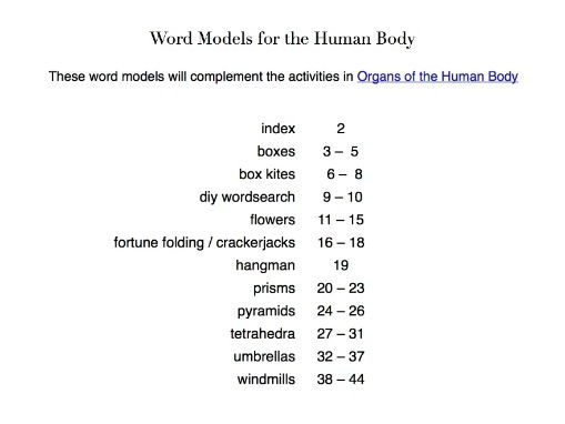 Word games to familiarise pupils with the organs of the human body