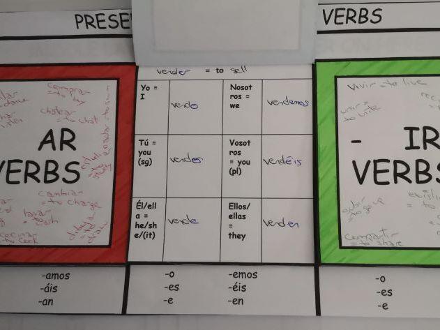 Flap book - Spanish Present tense - Regular verbs endings - hands on activity