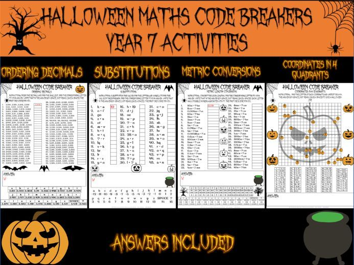 Halloween maths - Halloween code breakers (decimals, substitution, lengths and coordinates)
