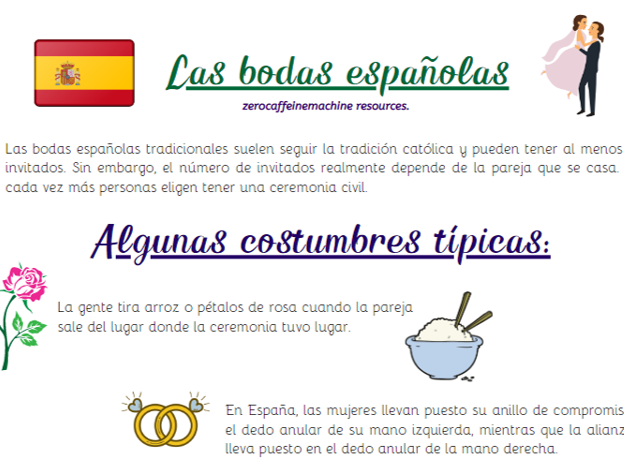 Una boda española - Reading comprehension