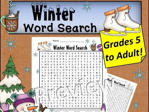 Winter Word Search *Hard* Grades 5 to Adult