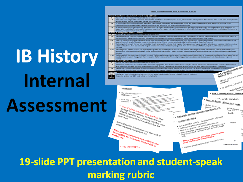 IB History Internal Assessment - Student-Speak Marking Rubric & 19 page Guidance PowerPoint