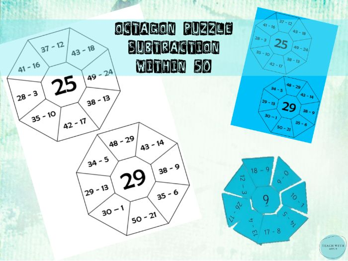 Octagon Maths Puzzle / Game Subtraction within 50