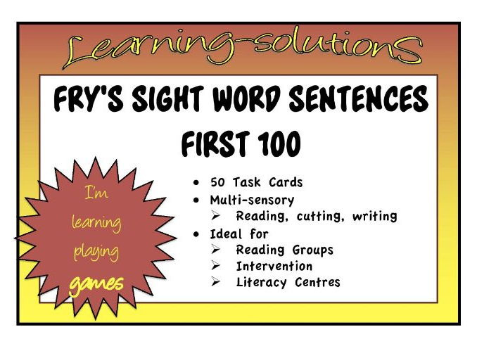 SIGHT WORDS - FRY'S FIRST 100 - Sentences - Transition from reading to writing with these TASK CARDS