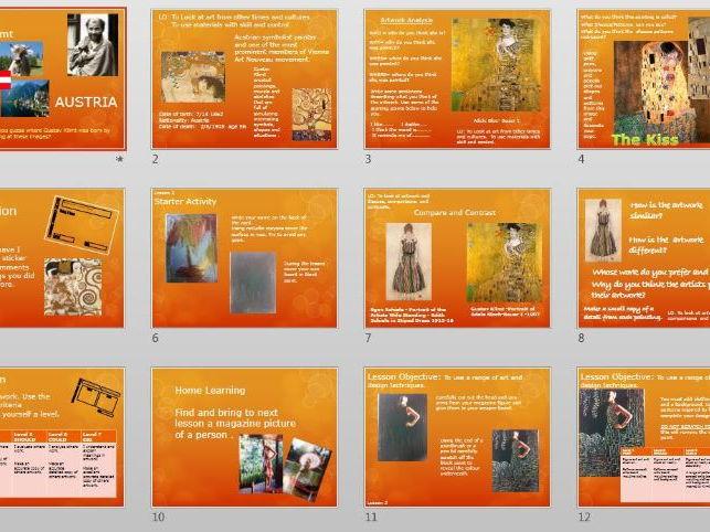 Gustav Klimt KS3 PPT SOW ceramic tile.