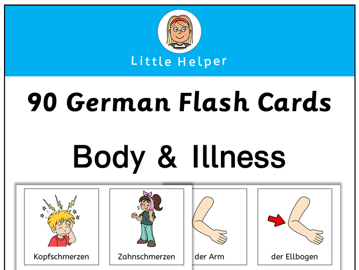 German flash cards - body & illness